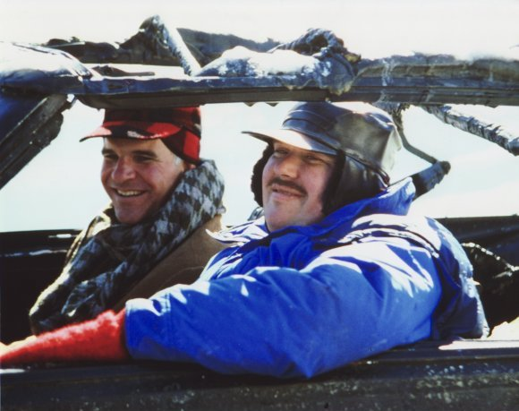 Steve Martin and John Candy on the set of Planes, Trains and Automobiles.