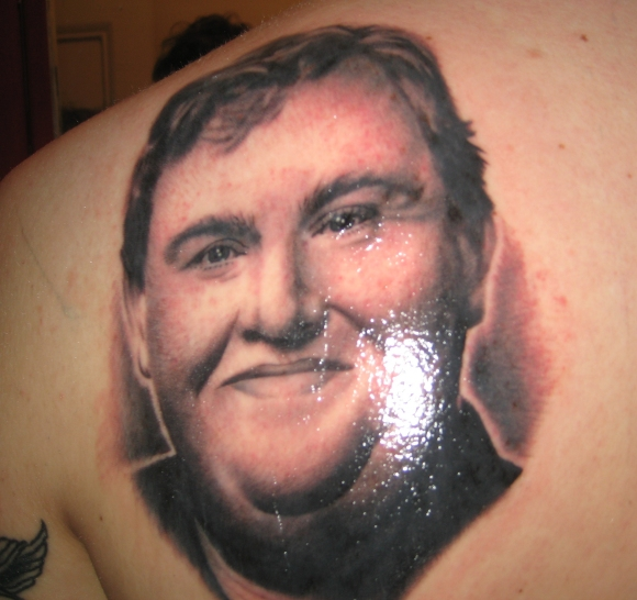 John Candy tattoo by Virginia Elwood NY Adorned